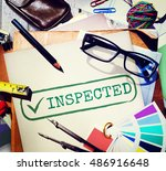 Small photo of Inspected Allow Approve Authority Permit Graphic Concept
