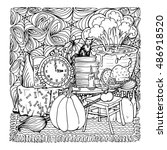 coloring book page design with... | Shutterstock . vector #486918520