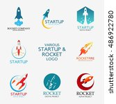 vector rocket design logo ... | Shutterstock .eps vector #486922780