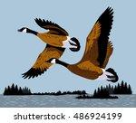 wild ducks fly over the river | Shutterstock .eps vector #486924199