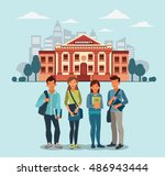 happy and smiling group of... | Shutterstock .eps vector #486943444
