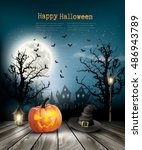 scary halloween background with ... | Shutterstock .eps vector #486943789