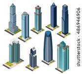 isometric skyscrapers and... | Shutterstock .eps vector #486946906