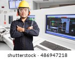 electrical engineer working at... | Shutterstock . vector #486947218