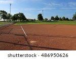 an empty softball field on a... | Shutterstock . vector #486950626