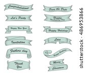 retro ribbon banners set with... | Shutterstock .eps vector #486953866