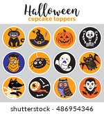 cupcake toppers for halloween....   Shutterstock .eps vector #486954346