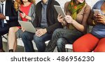 people using digital devices... | Shutterstock . vector #486956230