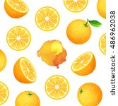 fresh ripe oranges with leaves. ... | Shutterstock . vector #486962038