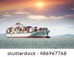 cargo ship  at the trade port | Shutterstock . vector #486967768