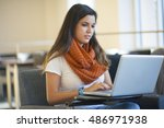 student engaged with laptop at... | Shutterstock . vector #486971938