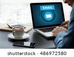 email thoughtful male person... | Shutterstock . vector #486972580