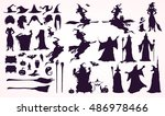 happy halloween collection ... | Shutterstock .eps vector #486978466