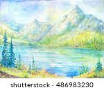 oil painting mountain. suitable ... | Shutterstock . vector #486983230