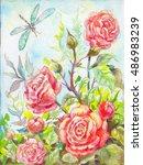 roses oil painting. flower... | Shutterstock . vector #486983239
