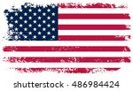 grunge usa flag.american flag... | Shutterstock .eps vector #486984424