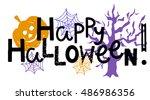halloween banner. happy...   Shutterstock .eps vector #486986356