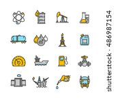 oil industry icon set  outline. ...
