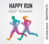 run  running poster | Shutterstock .eps vector #486990670