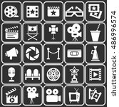 cinema retro movies icons set.... | Shutterstock .eps vector #486996574
