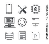 set icons database center... | Shutterstock .eps vector #487001008