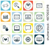 set of seo  marketing icons on...