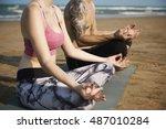 yoga meditation concentration... | Shutterstock . vector #487010284