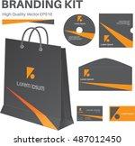 branding kit black and orang... | Shutterstock .eps vector #487012450