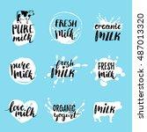 vector hand drawn milk logos or ... | Shutterstock .eps vector #487013320