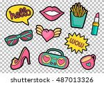 vector colorful quirky patches... | Shutterstock .eps vector #487013326