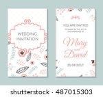 wedding set. romantic vector...   Shutterstock .eps vector #487015303