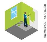 house painter isometric design... | Shutterstock .eps vector #487016068