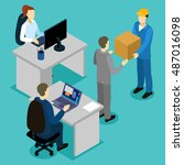 delivery in office isometric... | Shutterstock .eps vector #487016098