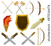 colorful vector set of medieval ...   Shutterstock .eps vector #487016476