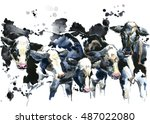 Holstein Cow Breed Watercolor...