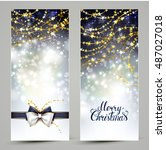two christmas greeting cards... | Shutterstock .eps vector #487027018