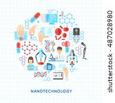 nanotechnology round design... | Shutterstock .eps vector #487028980