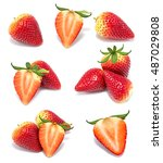 fresh strawberry isolated on... | Shutterstock . vector #487029808