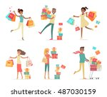set of shopping people vector... | Shutterstock .eps vector #487030159