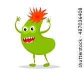 funny colorful monster icon on... | Shutterstock .eps vector #487036408