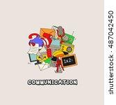 doodle communication background ... | Shutterstock .eps vector #487042450