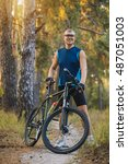 mountain biking   man with bike ... | Shutterstock . vector #487051003