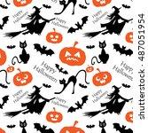 seamless pattern for halloween... | Shutterstock .eps vector #487051954