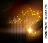 vector background with musical... | Shutterstock .eps vector #487055698