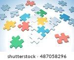 multicolored puzzle pieces... | Shutterstock .eps vector #487058296