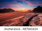 early morning at the wadi rum... | Shutterstock . vector #487061614