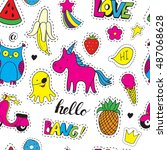 seamless vector pattern with... | Shutterstock .eps vector #487068628