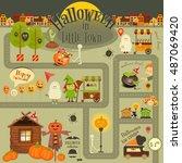 halloween in town   infographic ... | Shutterstock .eps vector #487069420