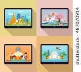 set of traveling advertisement...   Shutterstock . vector #487070914