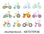set of kids bicycles and... | Shutterstock . vector #487070938